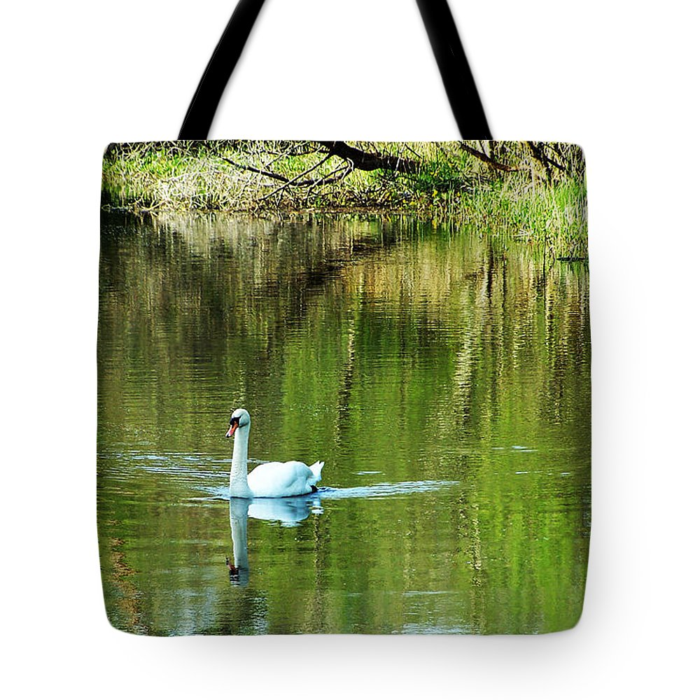 Irish Tote Bag featuring the photograph Swan On The Cong River Cong Ireland by Teresa Mucha
