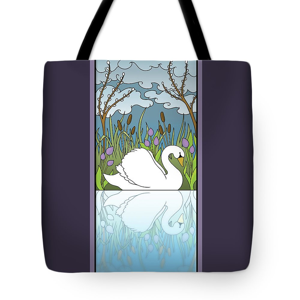 Swan Tote Bag featuring the digital art Swan On The River by Eleanor Hofer