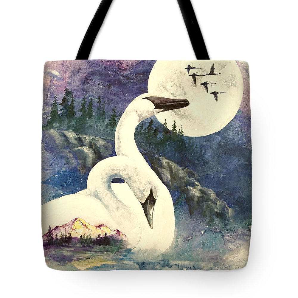 Wild Swans Tote Bag featuring the painting Swan Song by Sherry Shipley