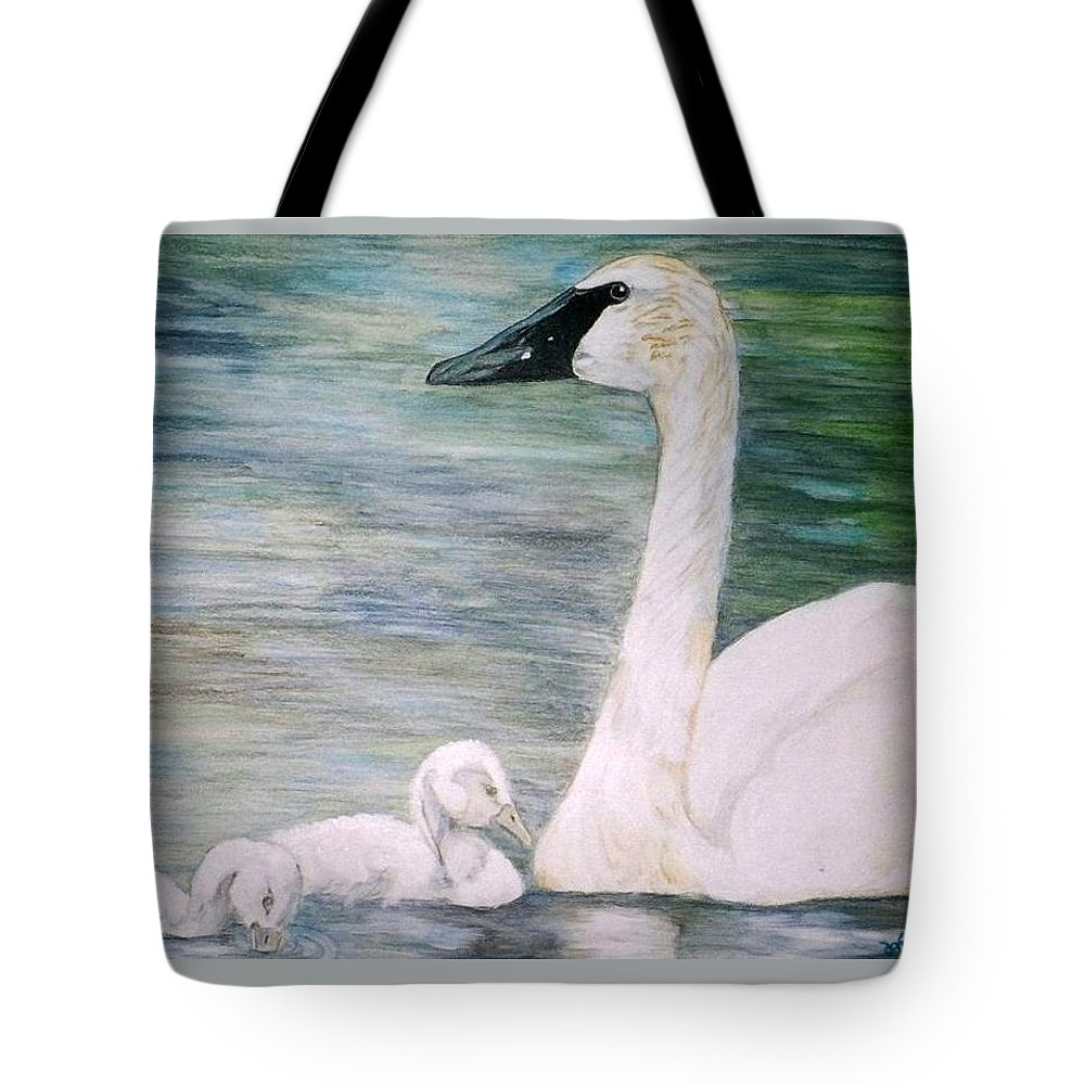 Swan Tote Bag featuring the painting Swans by Debra Sandstrom
