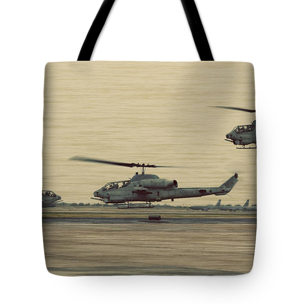 Bell Helicopter Photographs Tote Bags