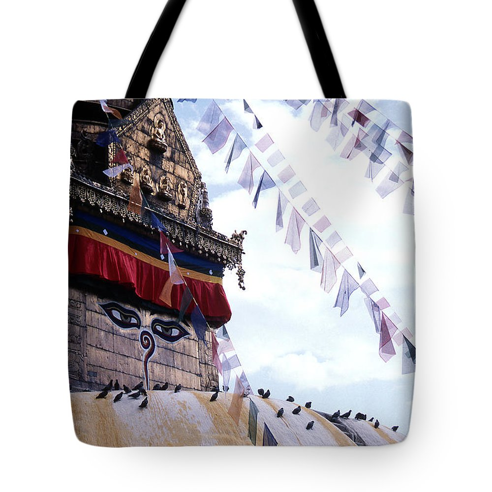 Swayambhunath Stupa Tote Bag featuring the photograph Swayambhunath II by Patrick Klauss