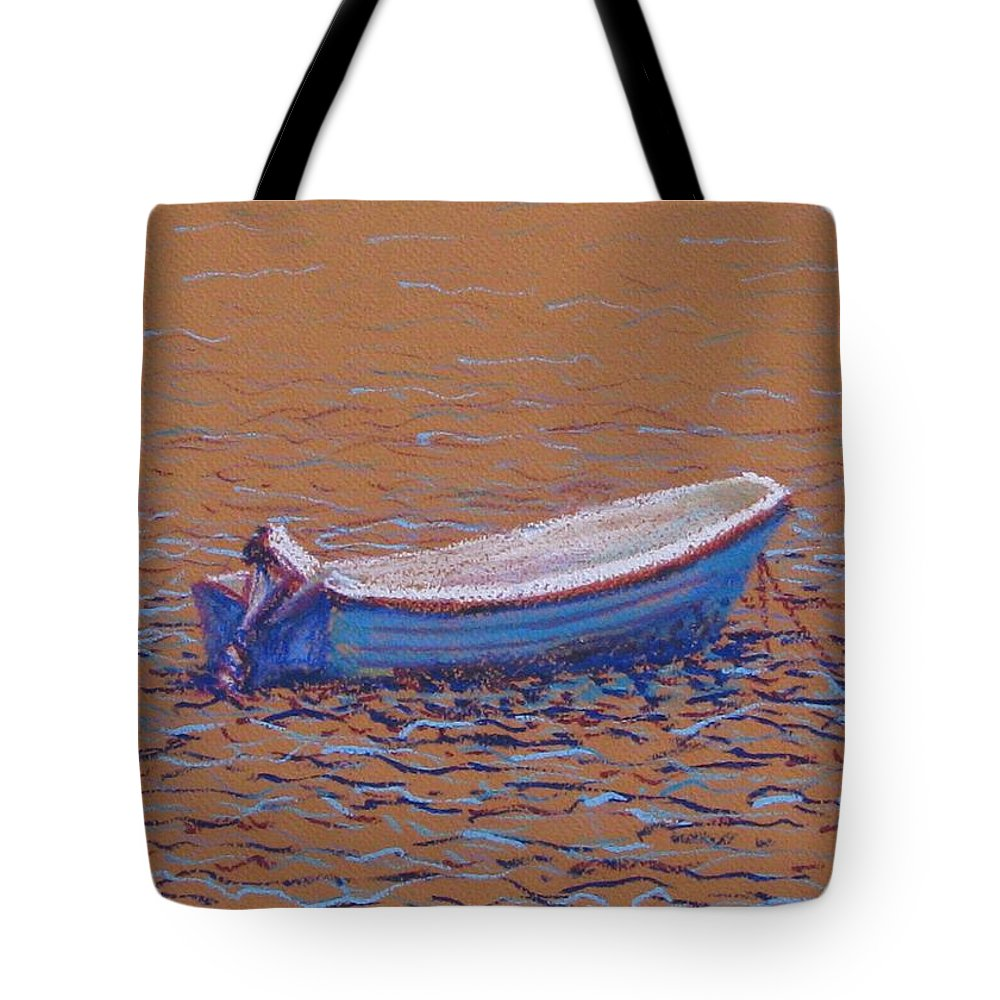 Boat Tote Bag featuring the pastel Swedish Boat by Art Nomad Sandra Hansen