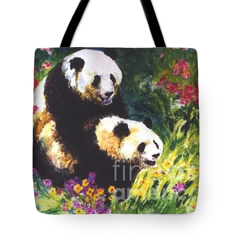Panda Tote Bag featuring the painting Sweet As Honey by Guanyu Shi
