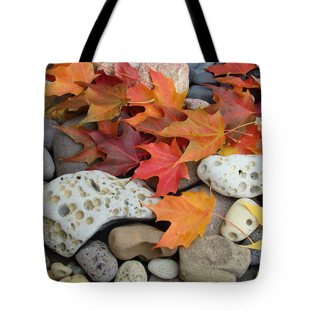 Art Tote Bag featuring the photograph Sweet Autumn 1 Autumn Leaves Rock Designs Photography Digital Art Prints by Baslee Troutman