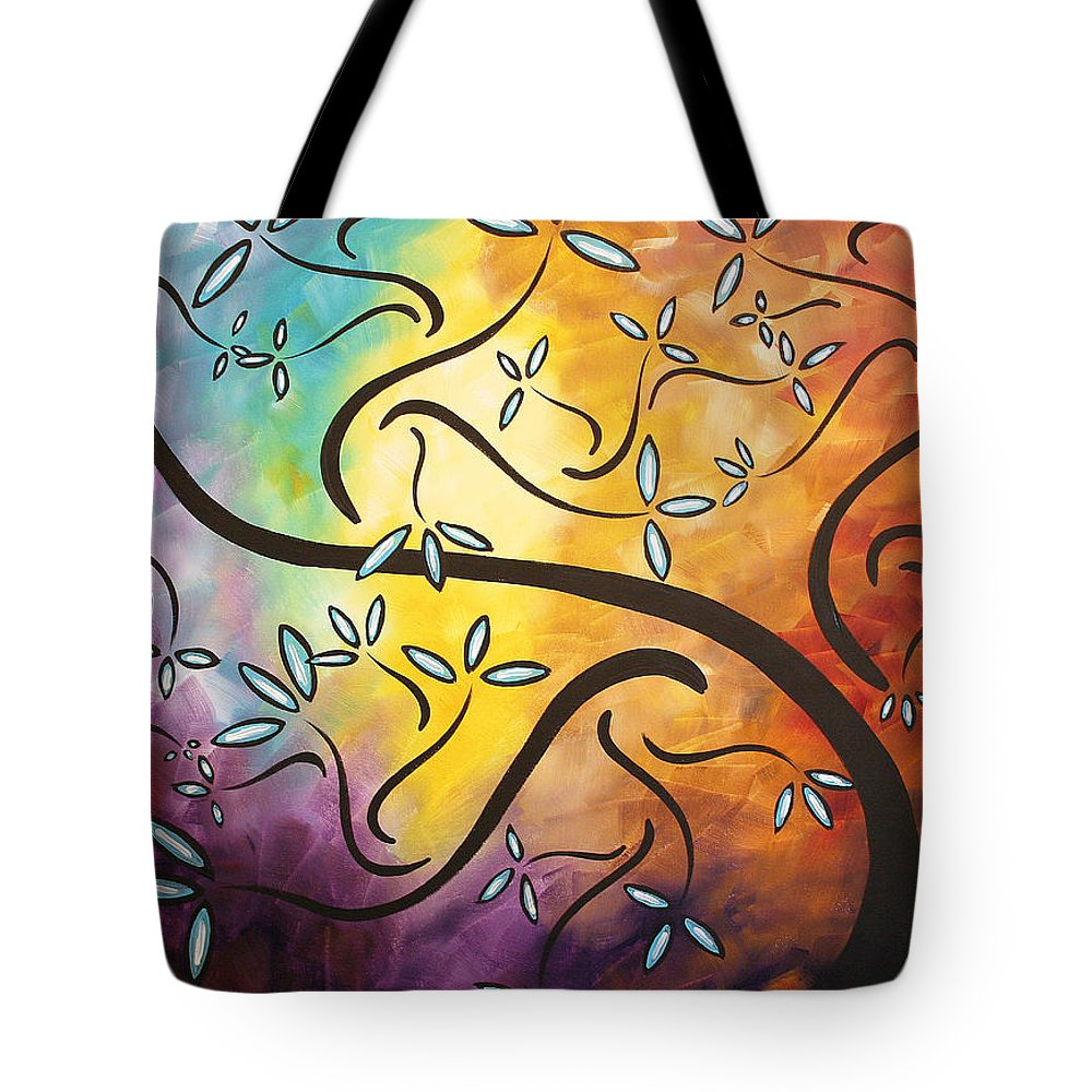 Abstract Tote Bag featuring the painting Sweet Blossom By Madart by Megan Duncanson