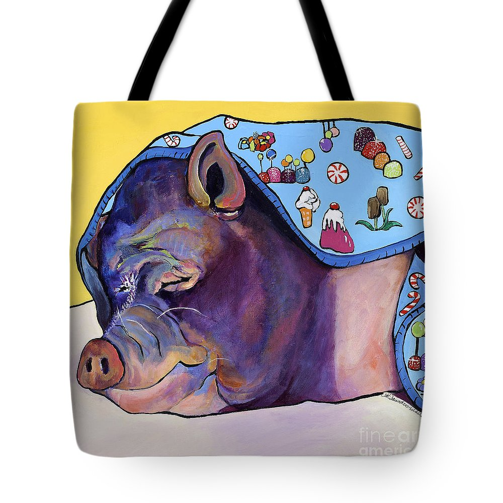 Farm Animal Tote Bag featuring the painting Sweet Dreams by Pat Saunders-White