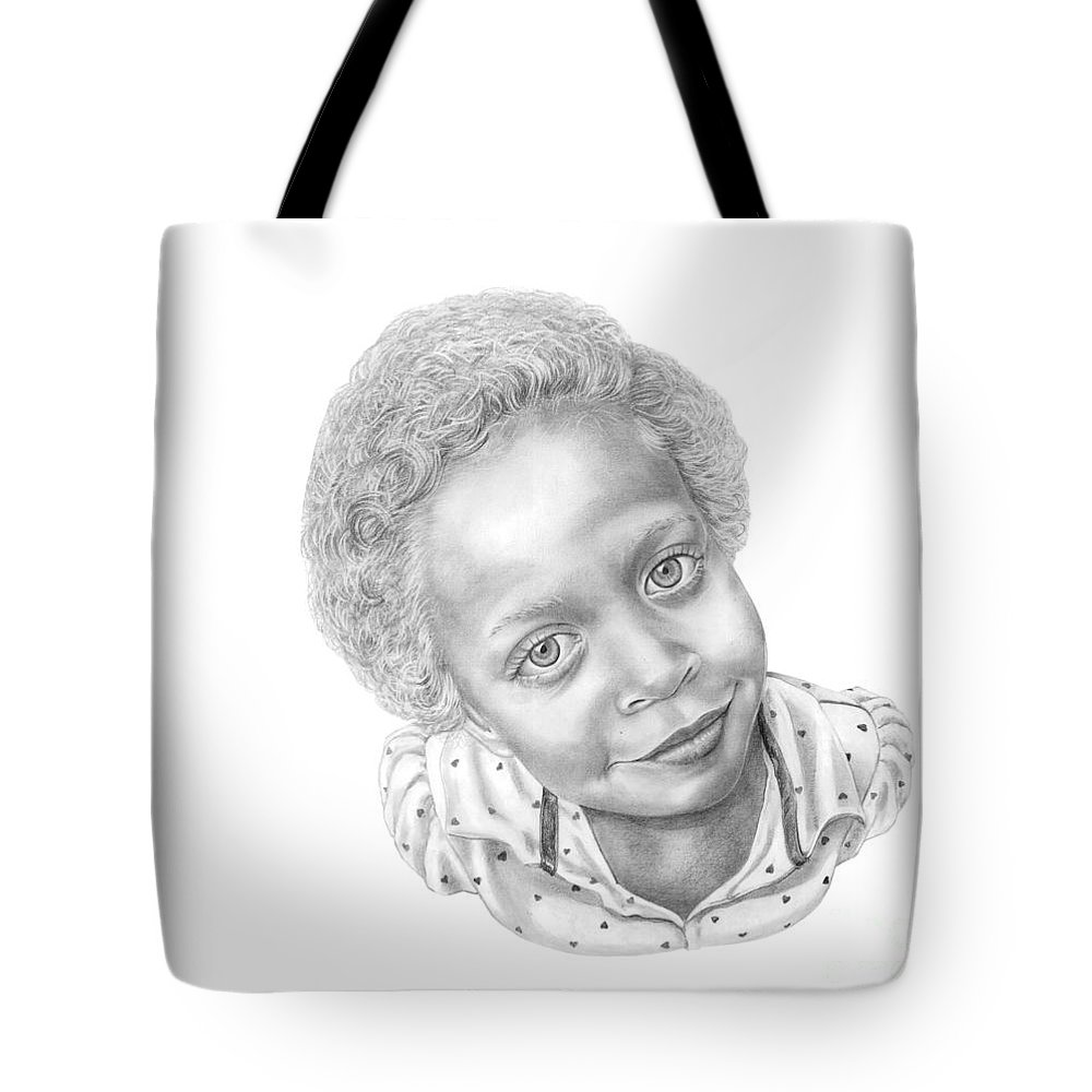 Portrait Tote Bag featuring the drawing Sweet Eyes by Murphy Elliott