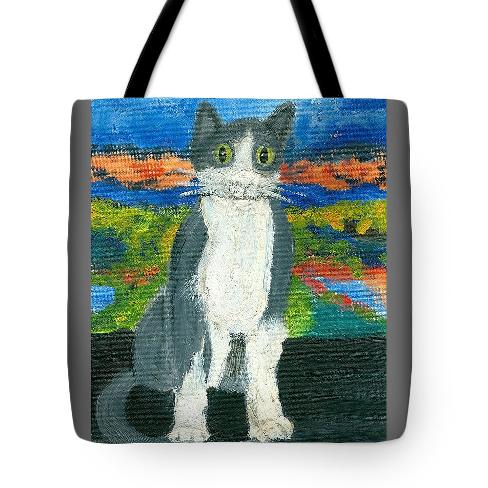 Cat Tote Bag featuring the painting Sweet Flojo Kitty by Jorge Delara