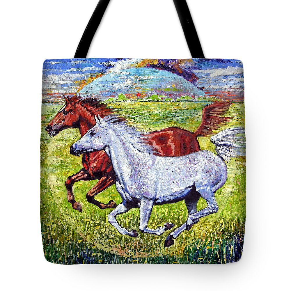 Horses Running Tote Bag featuring the painting Sweet Harmony by John Lautermilch