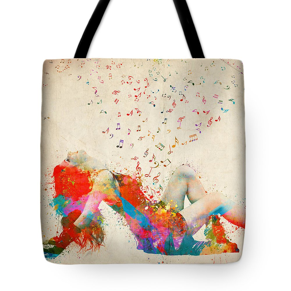 Song Tote Bag featuring the digital art Sweet Jenny Bursting with Music by Nikki Smith