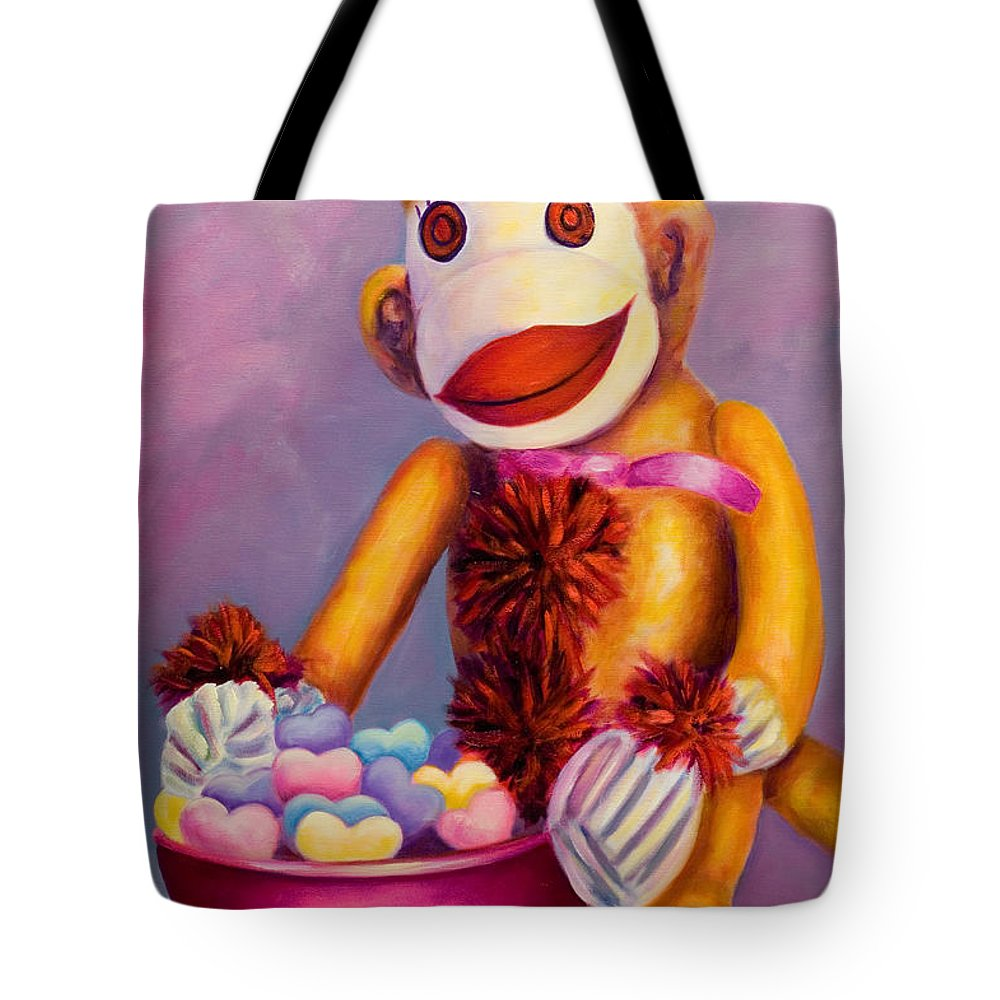 Heart Tote Bag featuring the painting Sweetheart Made Of Sockies by Shannon Grissom