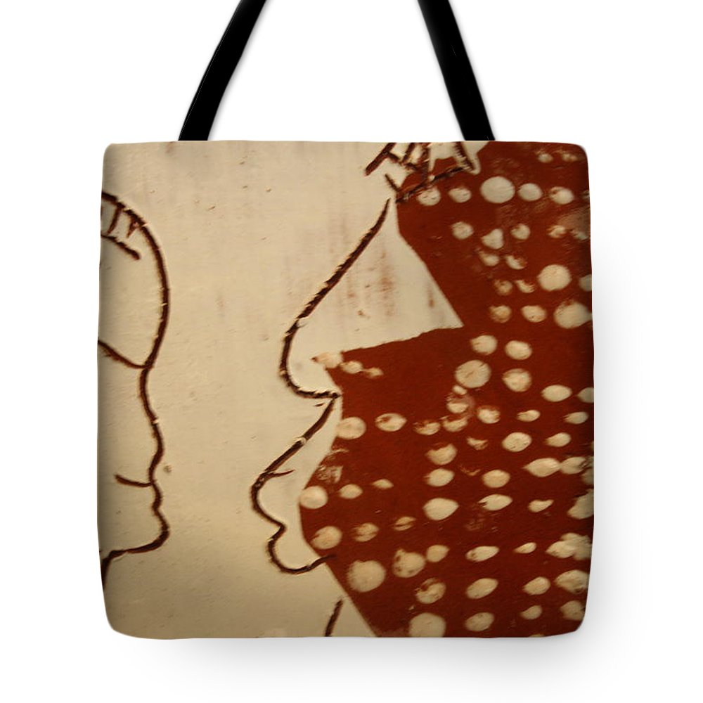 Jesus Tote Bag featuring the ceramic art Sweethearts 10 - Tile by Gloria Ssali