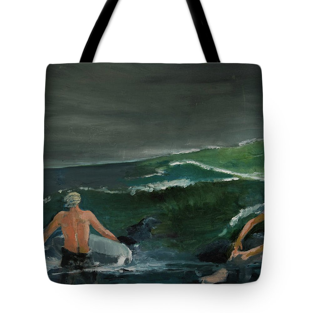 Ocean Tote Bag featuring the painting Swim At Your Own Risk by Craig Newland