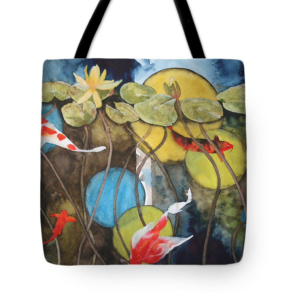 Abstract Tote Bag featuring the painting Swimming In Circles by Jean Blackmer