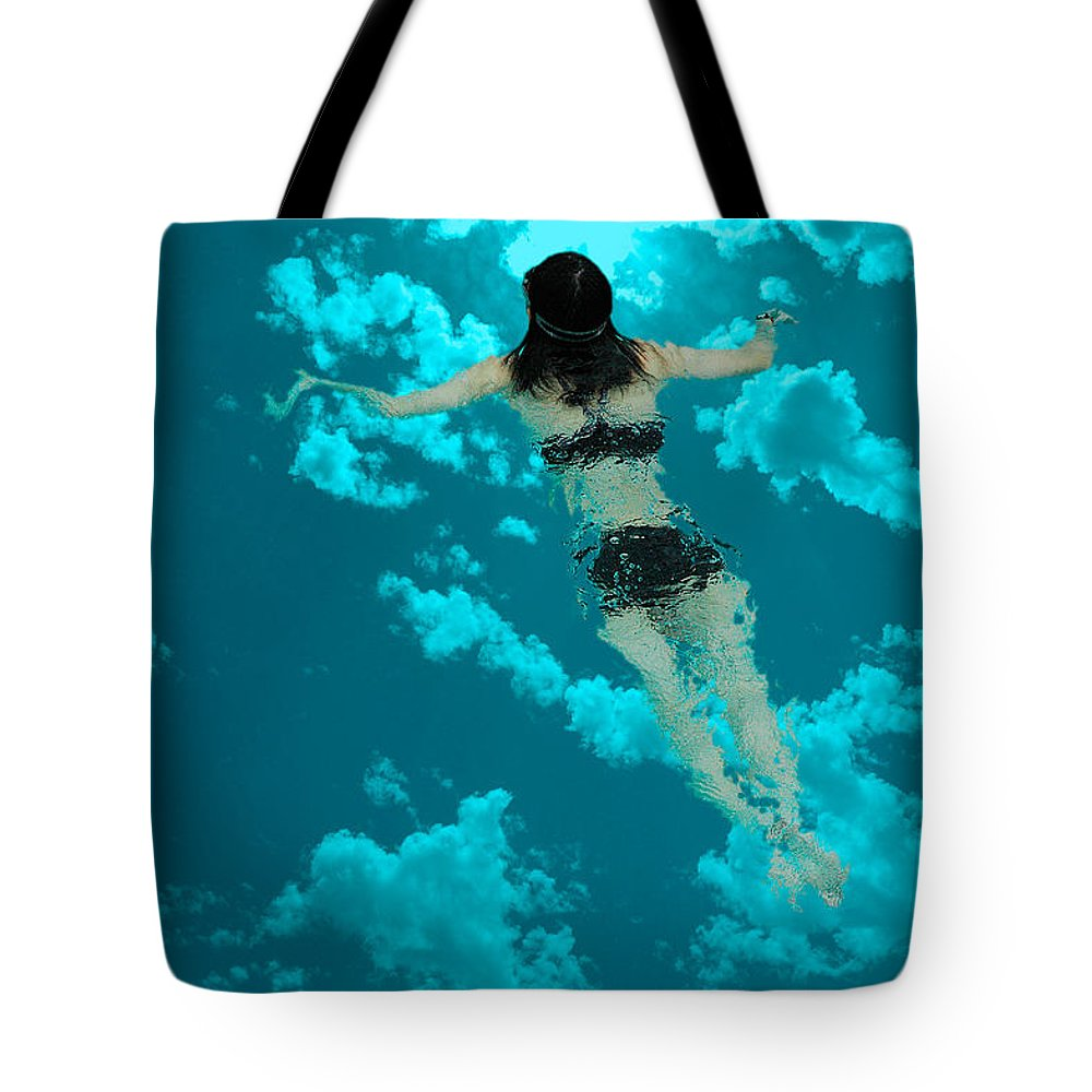 Swimming Tote Bag featuring the photograph Swimming In The Sky by Harry Spitz