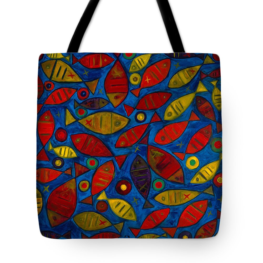 Fishes Tote Bag featuring the painting Swimming With The Fishes by Emeka Okoro
