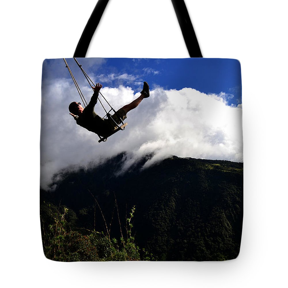 Swing Tote Bag featuring the photograph Swing At The End Of The World by Harry Coburn