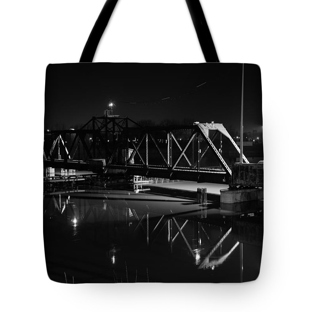 Bay City Tote Bag featuring the photograph Swing Bridge Too by Michael Tucker