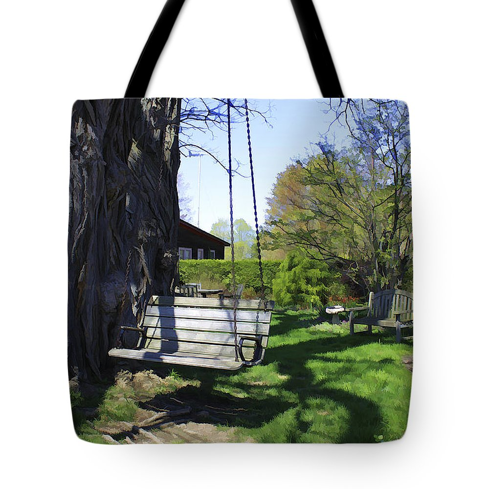 Spring Tote Bag featuring the photograph Swing In Spring by Deborah Benoit