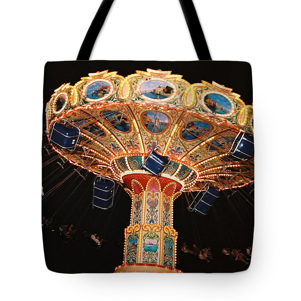 Boardwalk Tote Bag featuring the photograph Swing by Steve Karol
