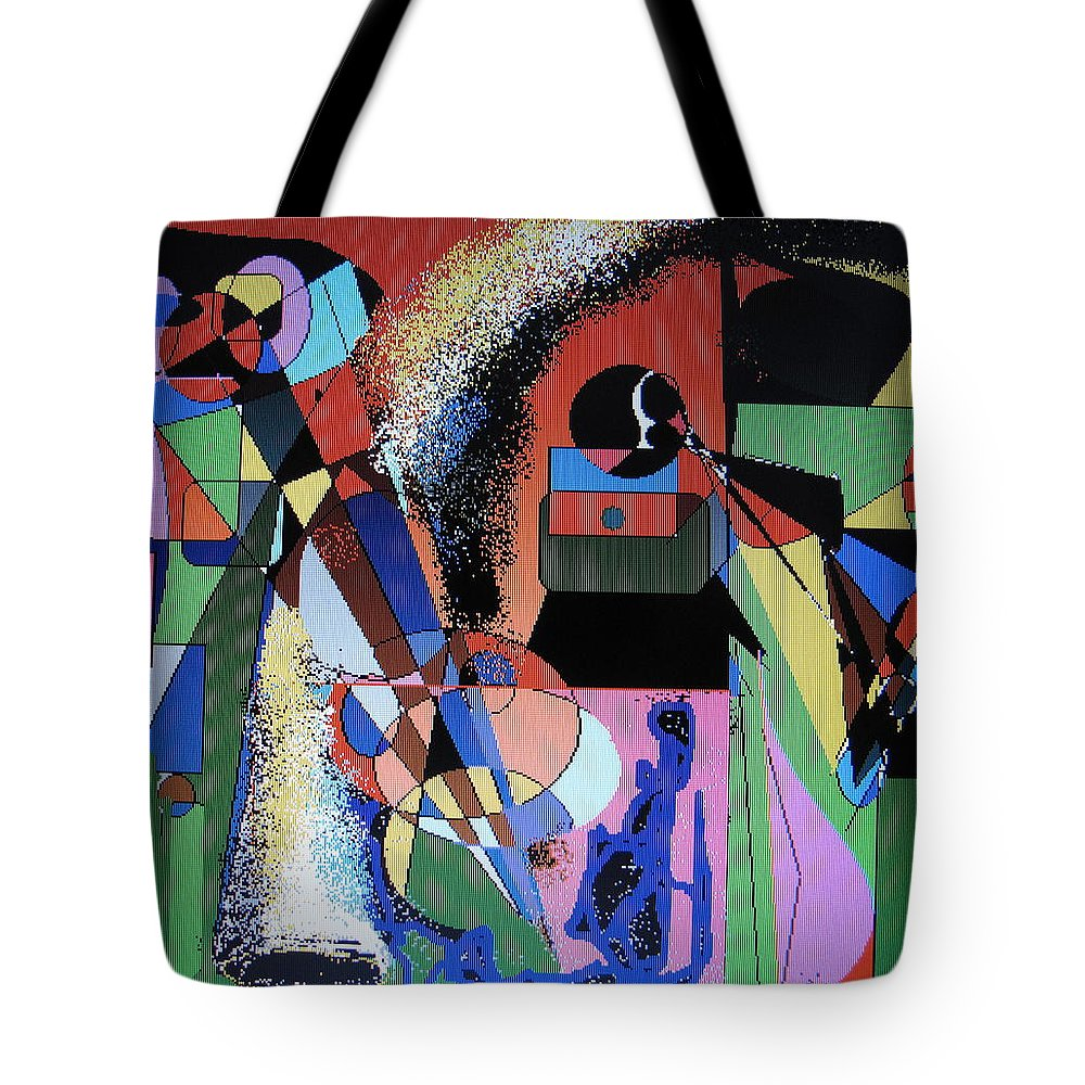 Jazz Tote Bag featuring the digital art Swinging Trio by Ian MacDonald