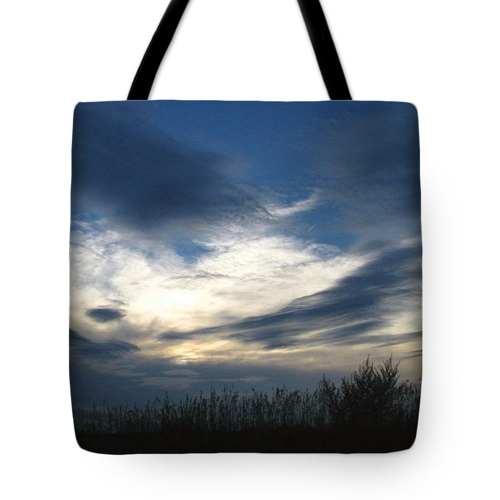 Sky Tote Bag featuring the photograph Swirling Skies by Rhonda Barrett