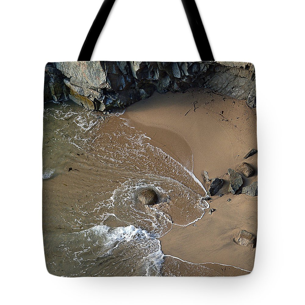 Big Sur Tote Bag featuring the photograph Swirling Surf And Rocks by Charlene Mitchell