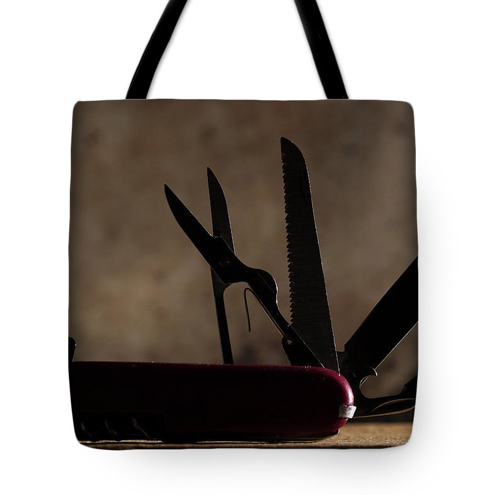 Knife Tote Bag featuring the photograph Swiss Army by Mike Eingle