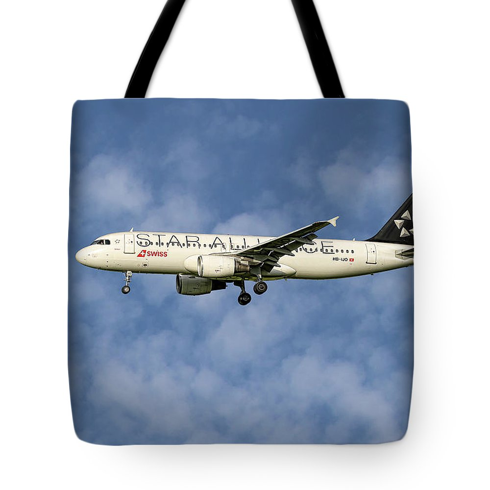 Swiss Tote Bag featuring the mixed media Swiss Star Alliance Livery Airbus A320-214 5 by Smart Aviation