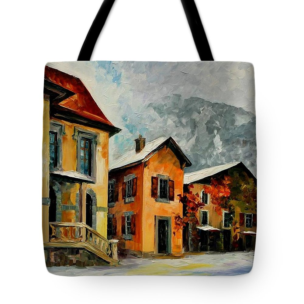 Afremov Tote Bag featuring the painting Switzerland - Town In The Alps by Leonid Afremov