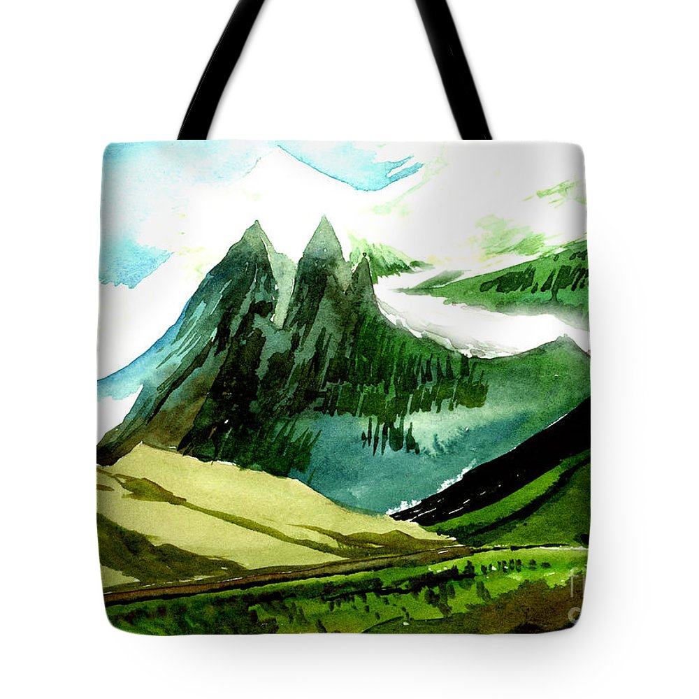 Landscape Tote Bag featuring the painting Switzerland by Anil Nene