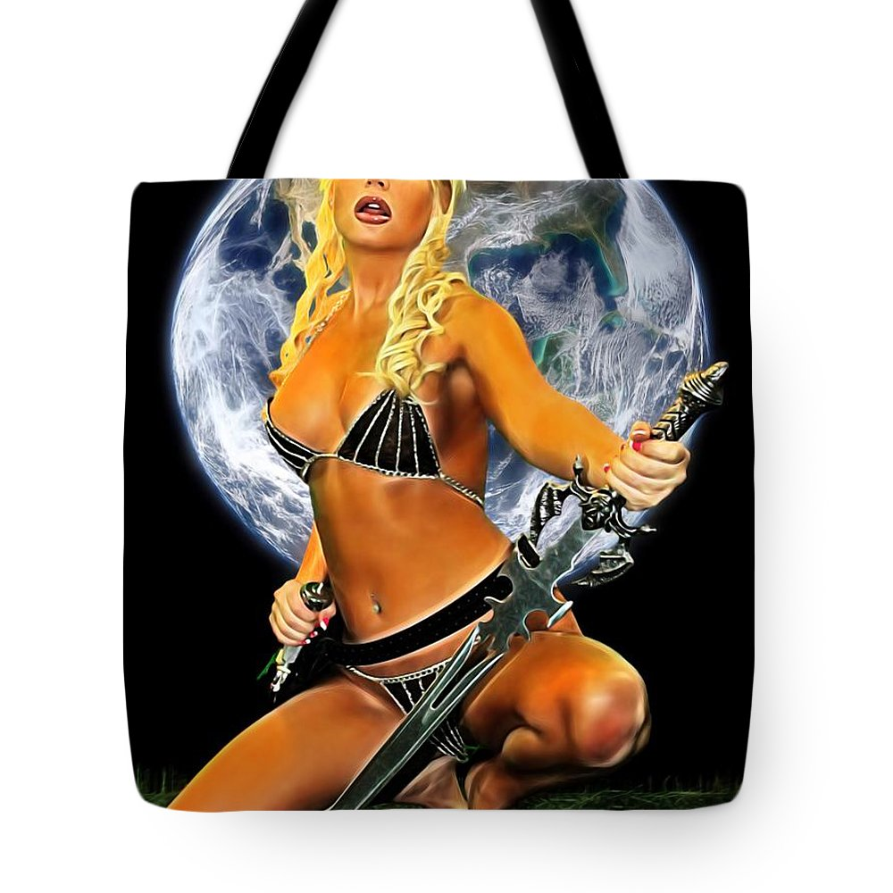 Amazon Tote Bag featuring the photograph Sword And Dagger by Jon Volden