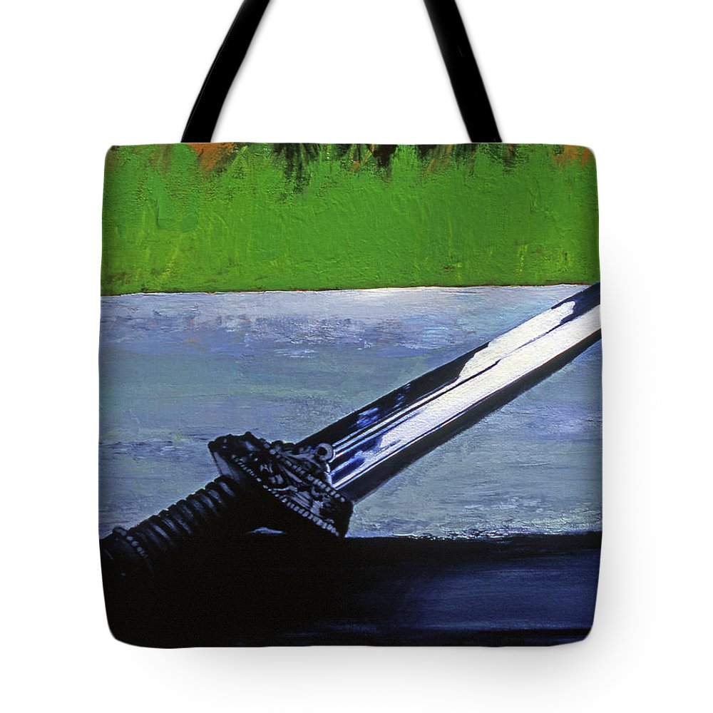 English Sword Tote Bag featuring the painting Sword Of Protection by Rene Capone