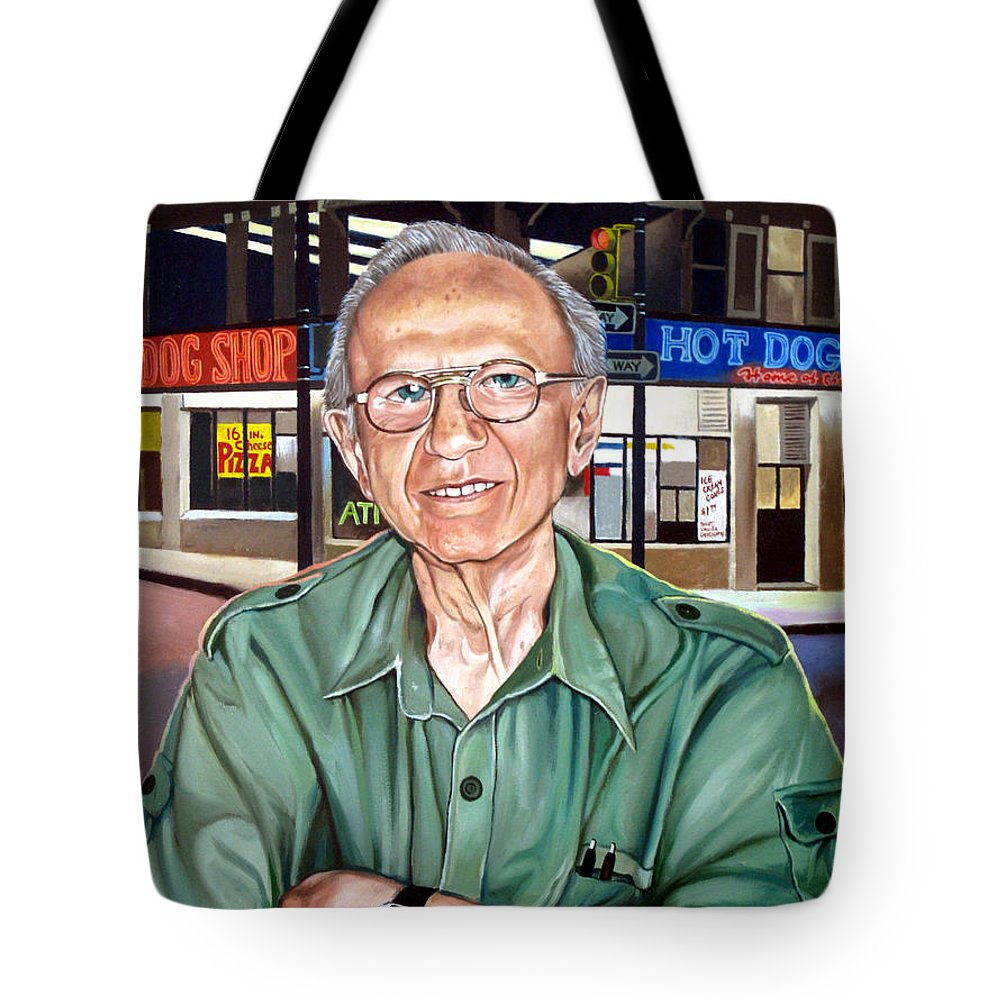 Syd Simon Tote Bag featuring the painting Syd Simon by Christopher Shellhammer