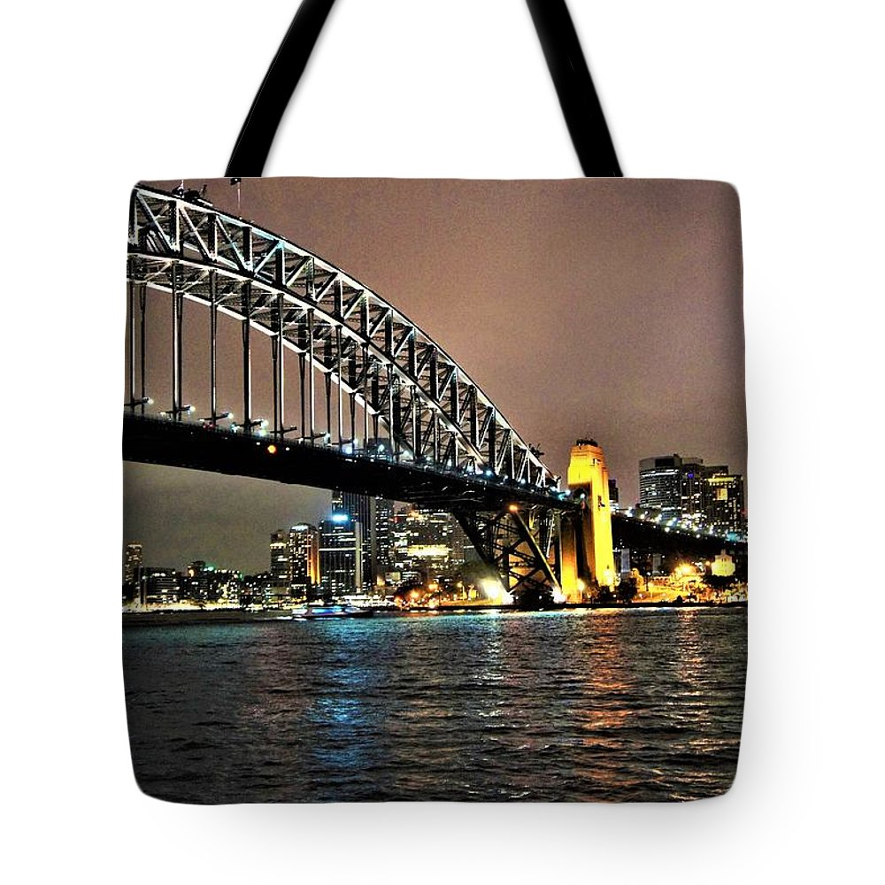 Australian Artist Tote Bag featuring the photograph Sydney Harbor Bridge Night View by Giro Tavitian