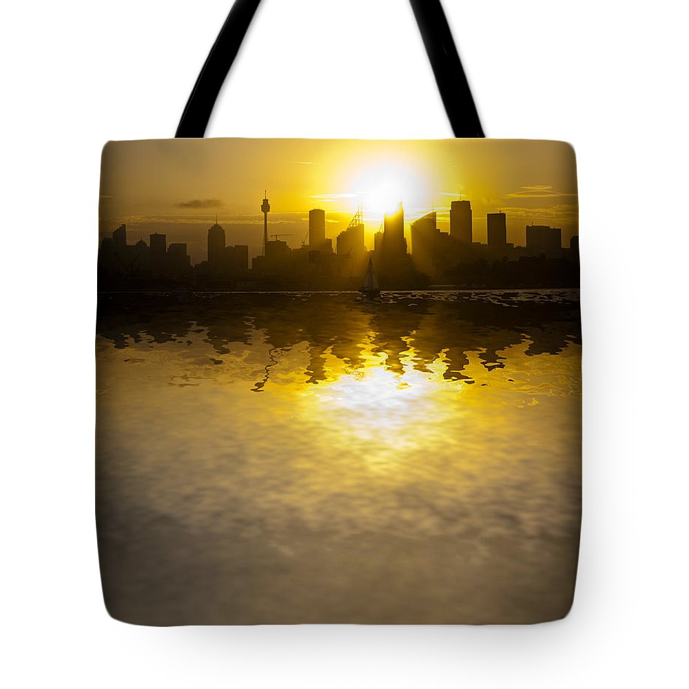 Sydney Harbour Sunset Tote Bag featuring the photograph Sydney Harbour Sunset Abstract by Sheila Smart Fine Art Photography
