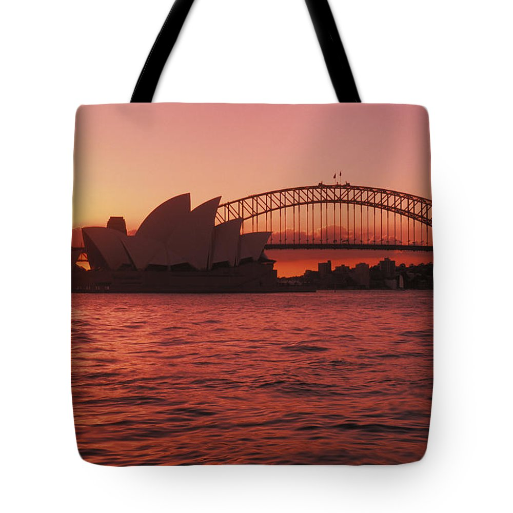 Arch Tote Bag featuring the photograph Sydney Opera House by Bill Bachmann - Printscapes