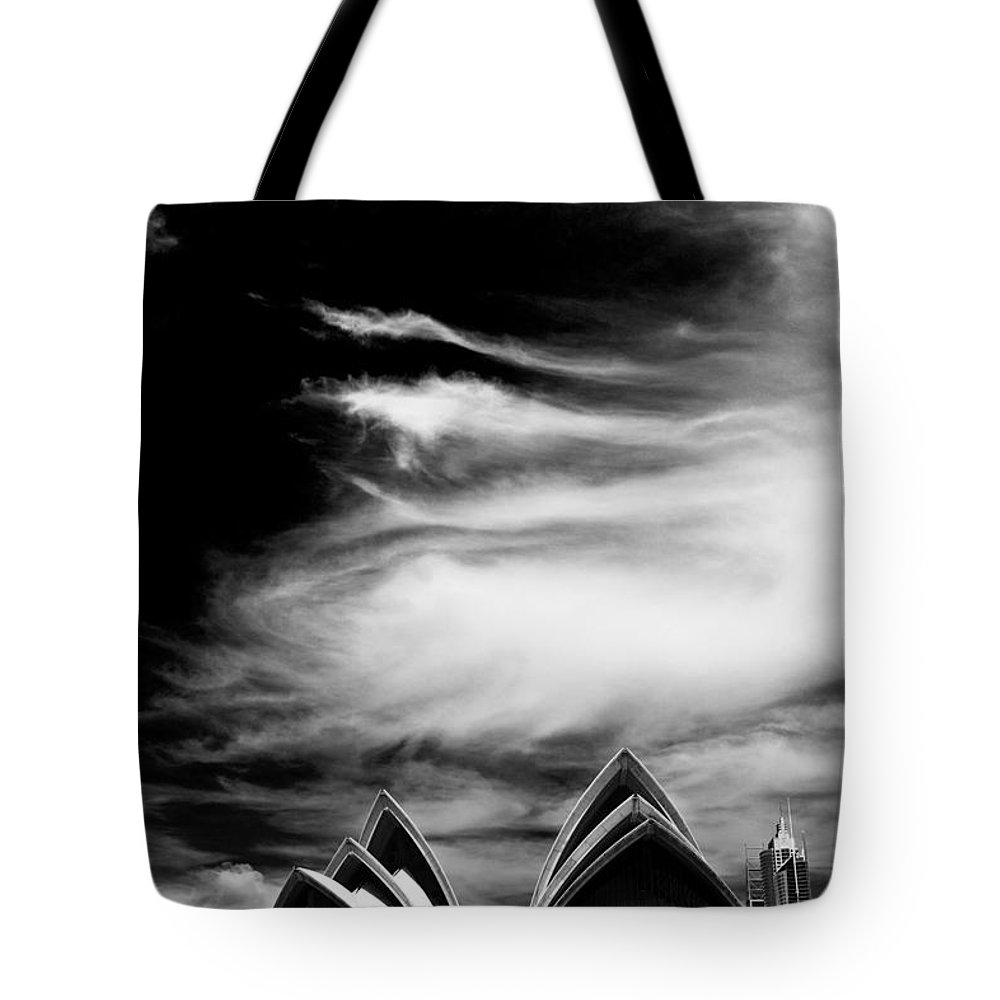 Sydney Opera House Monochrome Tote Bag featuring the photograph Sydney Opera House Portrait by Sheila Smart Fine Art Photography