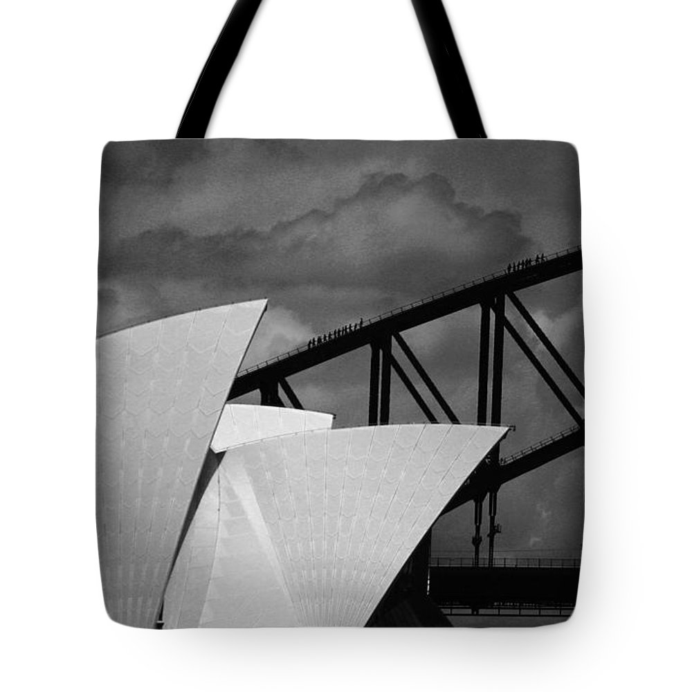Sydney Opera House Tote Bag featuring the photograph Sydney Opera House With Harbour Bridge by Sheila Smart Fine Art Photography