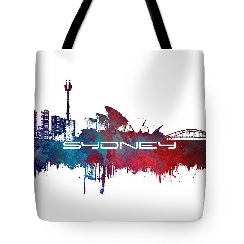 Sydney Tote Bag featuring the digital art Sydney Skyline City Blue by Justyna JBJart