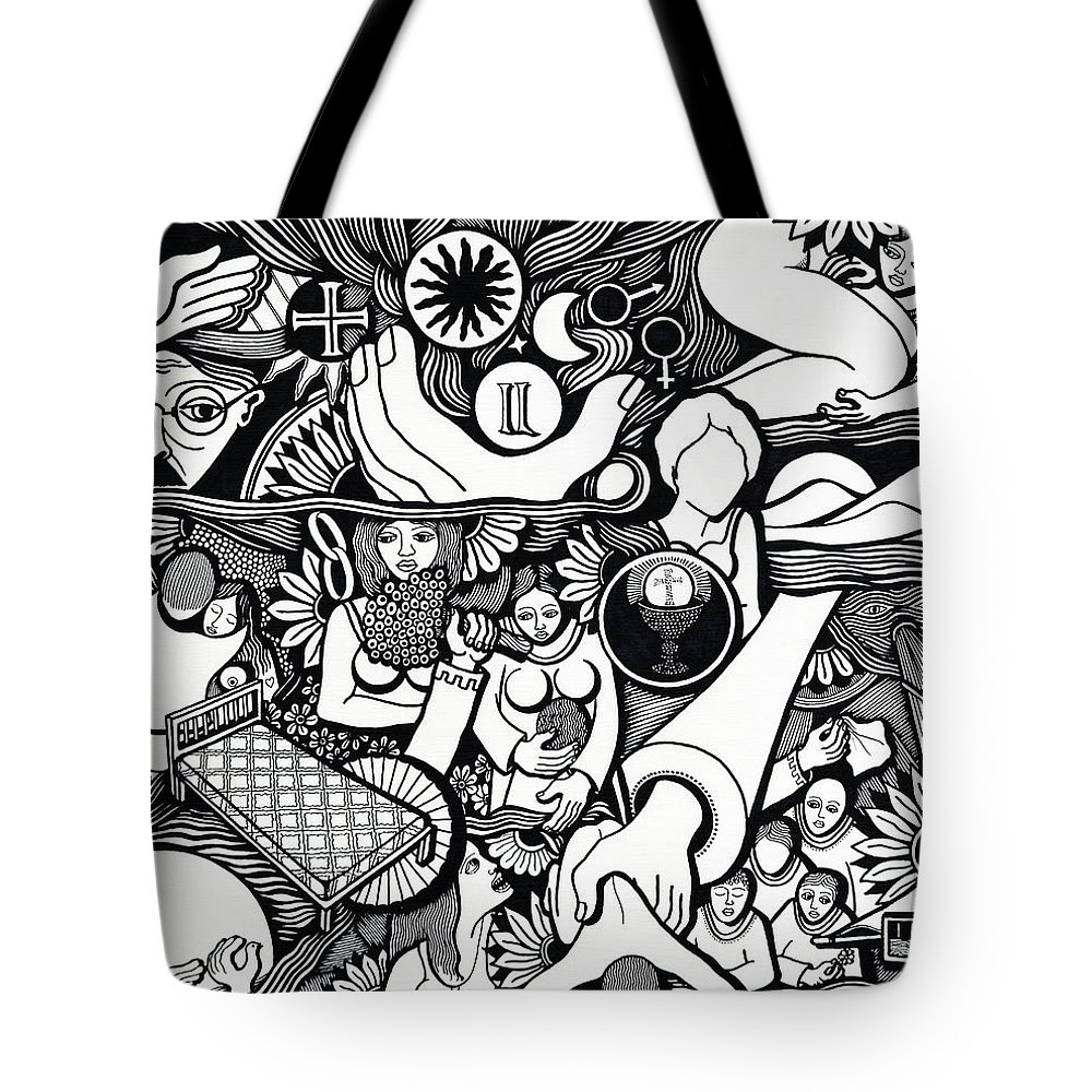Drawing Tote Bag featuring the drawing Symbols I Am Sick Of Symbols by Jose Alberto Gomes Pereira