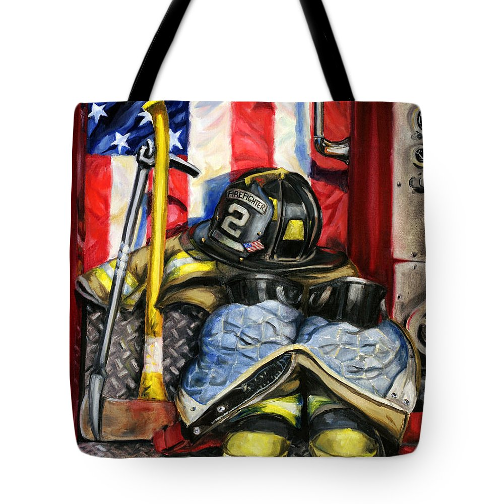 Firefighting Tote Bag featuring the painting Symbols Of Heroism by Paul Walsh