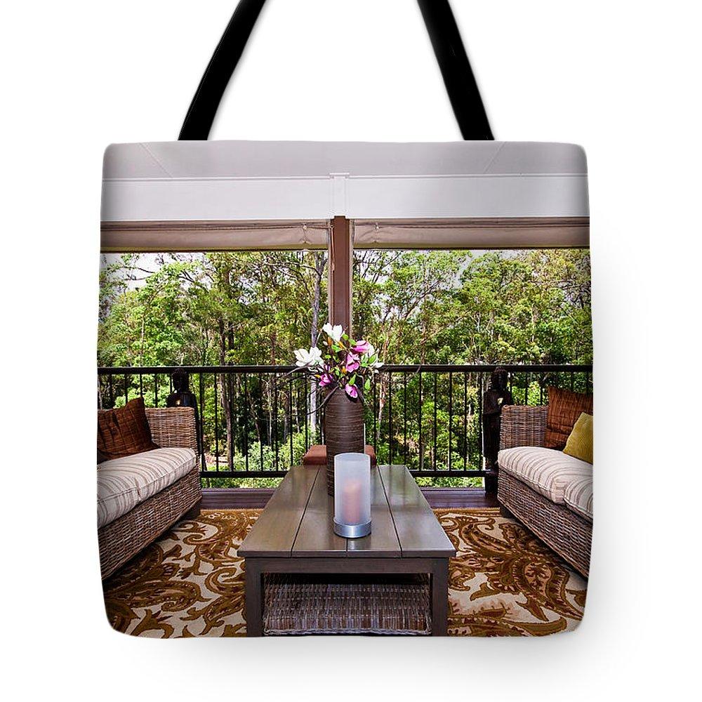 Symmetrical Tote Bag featuring the photograph Symmetrical Balcony by Darren Burton