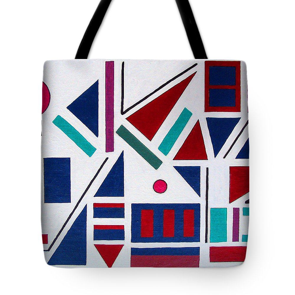 Abstract Tote Bag featuring the painting Symmetry In Blue Or Red by Marco Morales