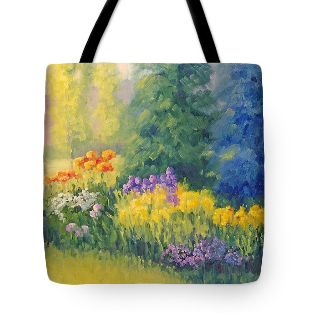 Garden Tote Bag featuring the painting Symphony Of Summer by Bunny Oliver