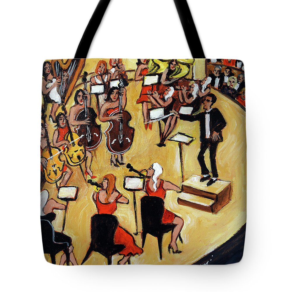 Carnegie Hall Orchestra Tote Bag featuring the painting Symphony by Valerie Vescovi