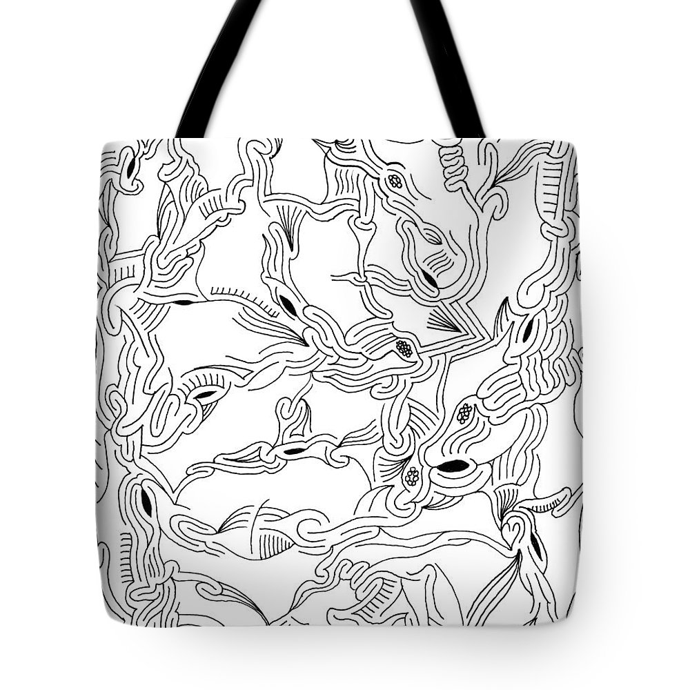 Mazes Tote Bag featuring the drawing Synapses by Steven Natanson