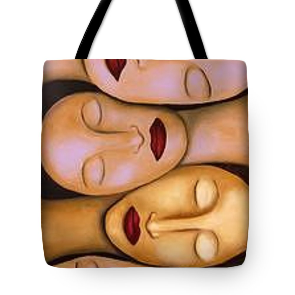 Women Tote Bag featuring the painting Synchronized Meditation by Leah Saulnier The Painting Maniac