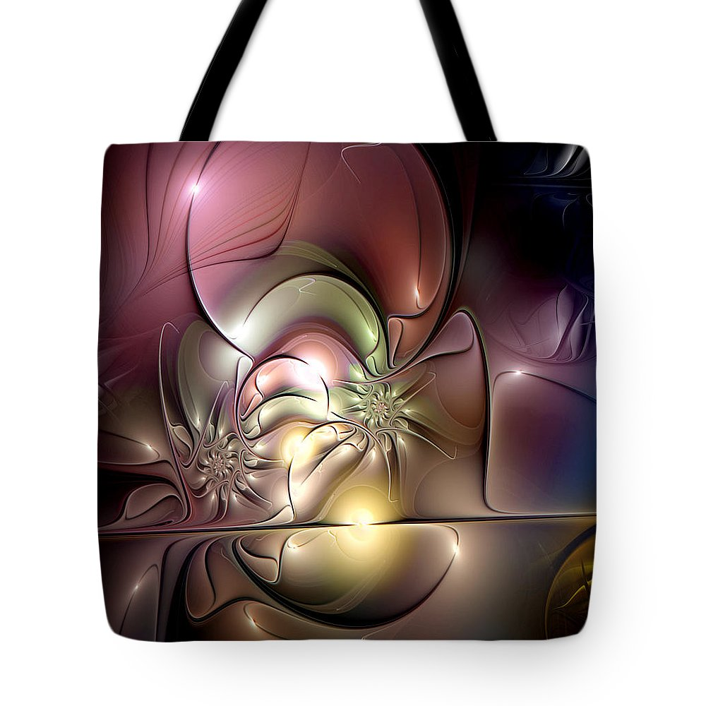 Abstract Tote Bag featuring the digital art Synergetic Hypothesis by Casey Kotas